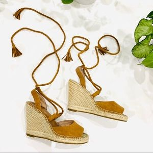 JOIE Phyllis Suede Lace-Up Wedge Sandals size 6